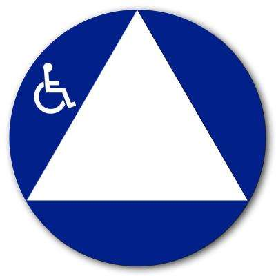 12 in. Round All Gender Restroom Sign With Flat Handicap Logo White Triangle on Blue Circle Hard, Durable Plastic