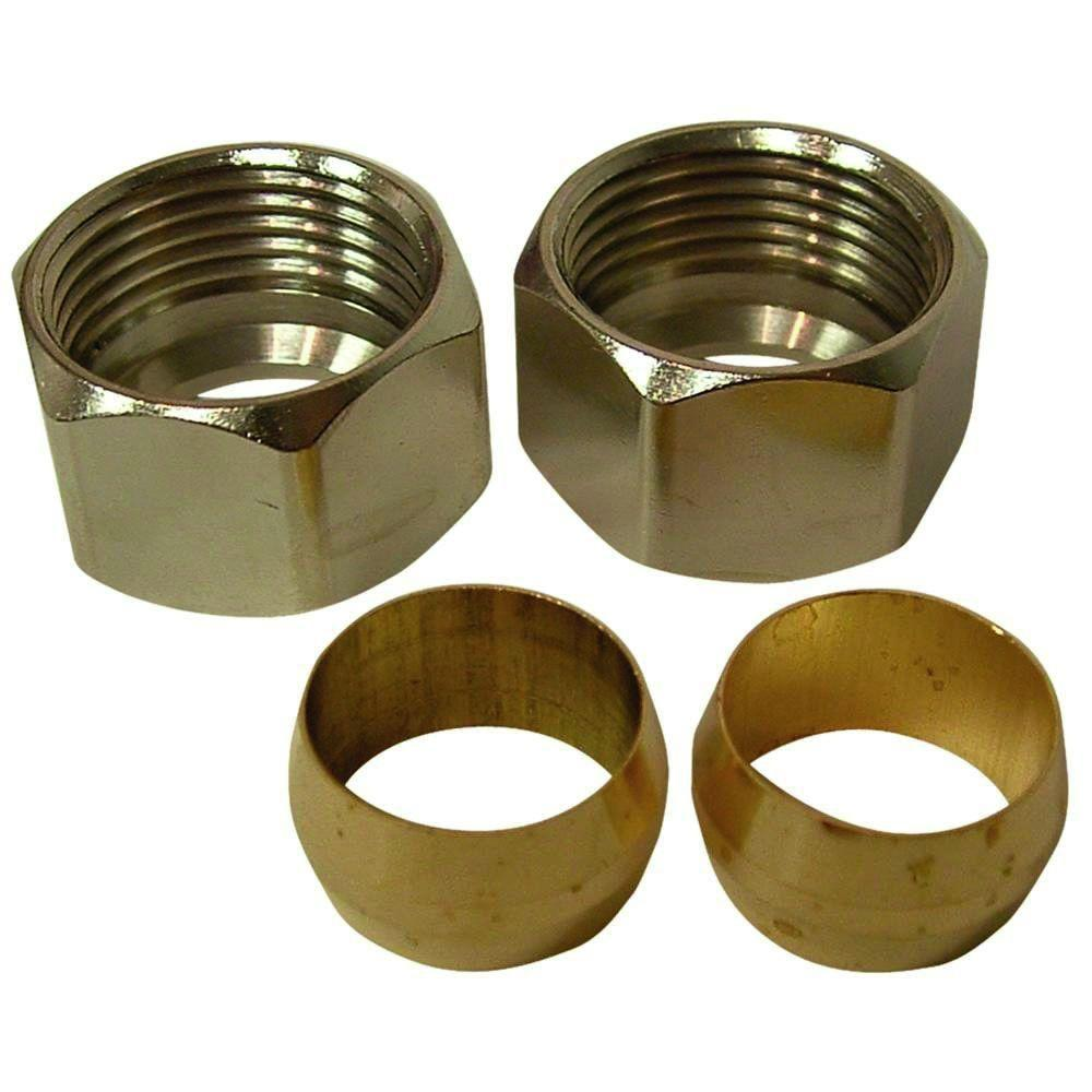 Everbilt 3/8 in  Chrome-Plated Brass Compression Nuts and Brass Sleeve  Fittings (2-Pack)