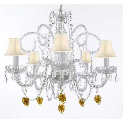 Empress Crystal 5-Light Clear Chandelier with White Shades