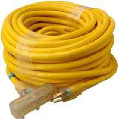 100 ft. 10/3 SJTW Tri-Source Extension Cord with Lighted End, Yellow