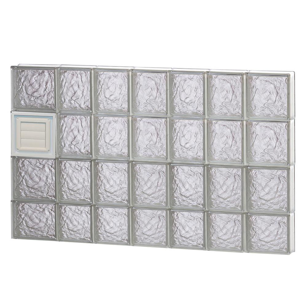 Clearly Secure 44.25 in. x 29 in. x 3.125 in. Frameless Ice Pattern Glass Block Window with Dryer Vent