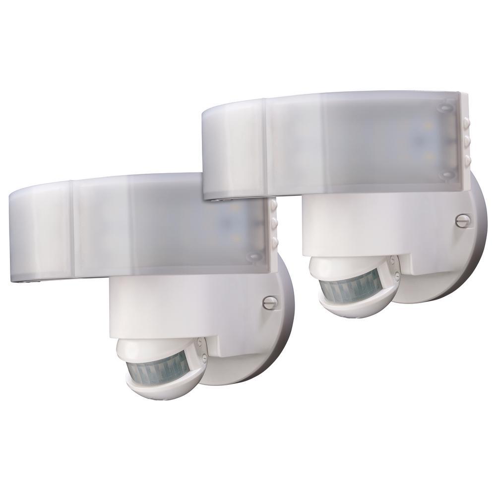 180 Degree White LED Motion Sensing Outdoor Security Flood Light (2-Pack)