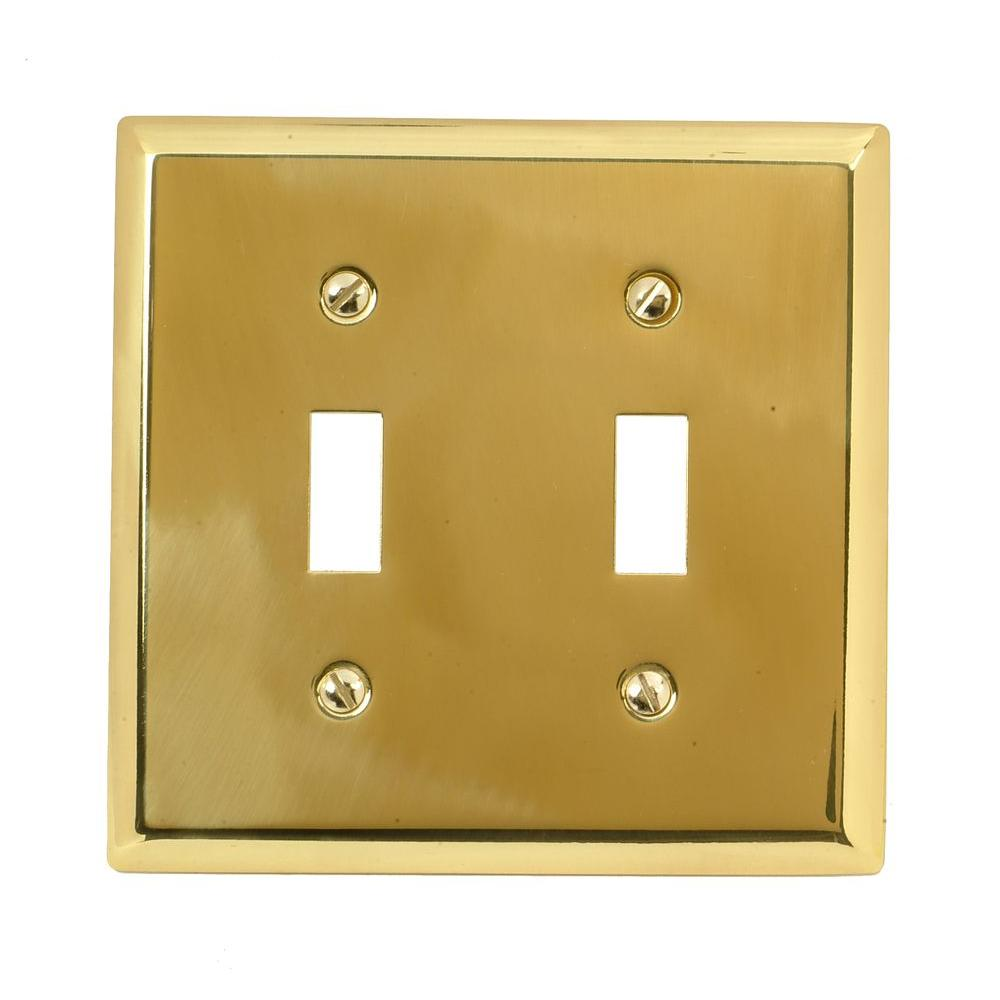 Madison 2 Toggle Wall Plate - Polished Brass