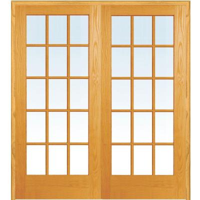 Builders Choice 60 In X 80 In 15 Lite Clear Wood Pine Prehung Interior French Door Hdcp151550 The Home Depot