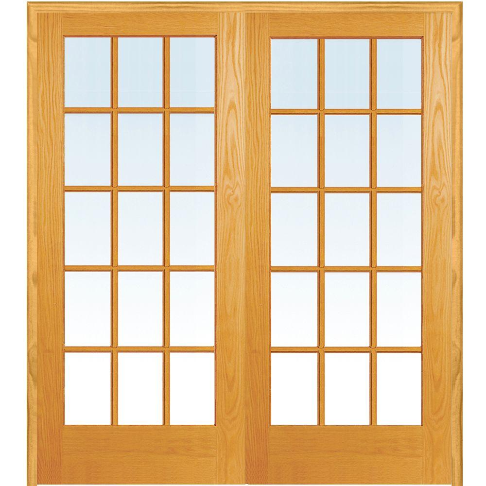 MMIDoor MMI Door 60 in. x 80 in. Both Active Unfinished Pine Glass 15-Lite Clear True Divided Prehung Interior French Door