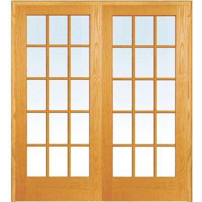 60 in. x 80 in. Both Active Unfinished Pine Glass 15-Lite Clear True Divided Prehung Interior French Door