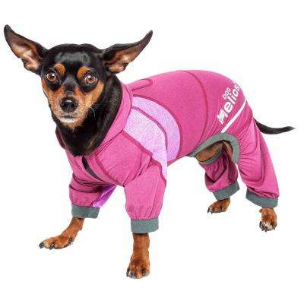 X-Large Pink Namastail Breathable Full Body Performance Yoga Dog Hoodie Tracksuit