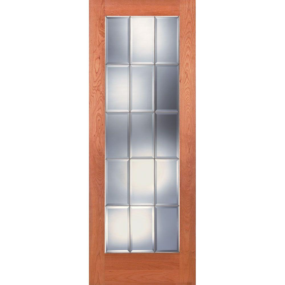 Feather River Doors 32 in. x 80 in. 15 Lite Unfinished Cherry Clear Bevel  sc 1 st  The Home Depot & Feather River Doors 32 in. x 80 in. 15 Lite Unfinished Cherry Clear ...