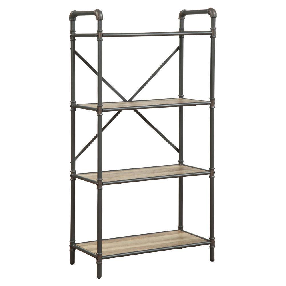 Oak Brown and Gray 3-Tier Metal Bookshelf with Wooden Shelves