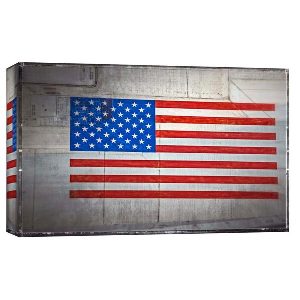 10 in  x 12 in  ''American Flag on Vintage Aircraft'' Printed Canvas Wall  Art