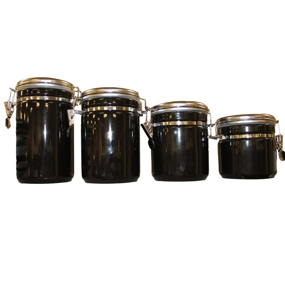 anchor hocking 4 piece ceramic canister set in black 03923mr the rh homedepot com  black canisters for kitchen for sale