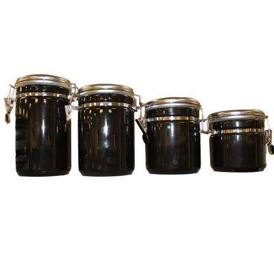 4-Piece Ceramic Canister Set in Black