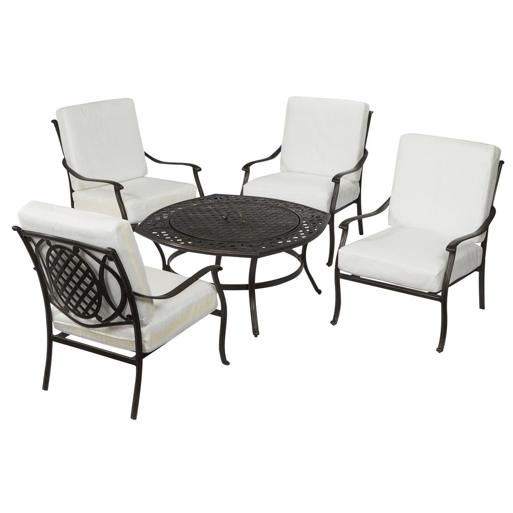 Hampton Bay Belcourt Custom Metal 5-Piece Patio Fire Pit ...