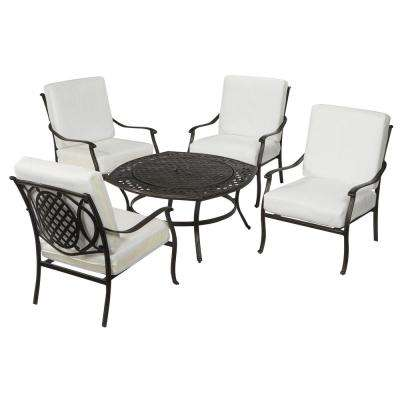 Belcourt Custom Metal 5 Piece Patio Fire Pit Conversation Set With Cushions  Included, Choose