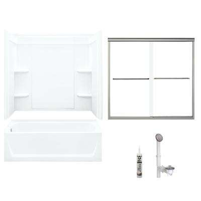 Ensemble 32 in. x 60 in. x 75 in. Bath and Shower Kit with Left-Hand Above-Floor Drain in White and Brushed Nickel