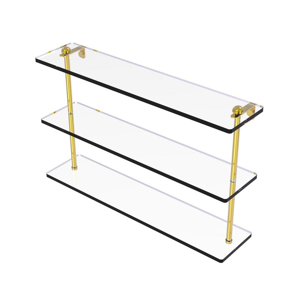 22 in. Triple Tiered Glass Shelf in Polished Brass