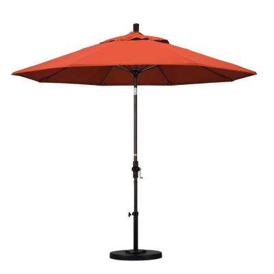 9 ft. Fiberglass Collar Tilt Patio Umbrella in Sunset Olefin