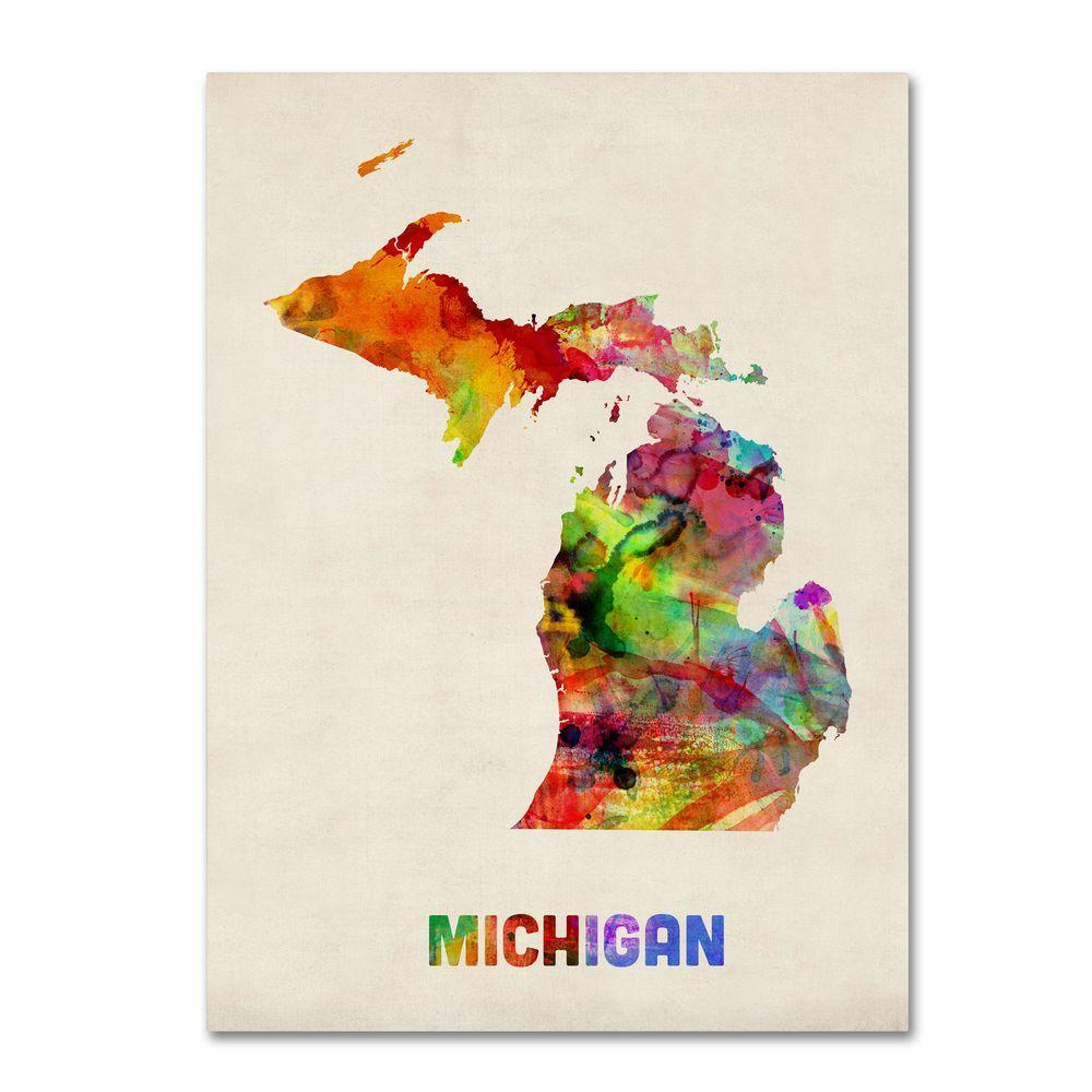 24 in. x 18 in. Michigan Map Canvas Art
