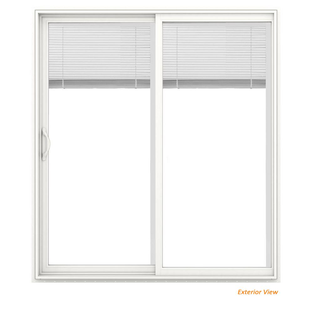 Jeld Wen 72 In X 80 In V 2500 White Vinyl Left Hand Full Lite Sliding Patio Door W White Interior Blinds Jw1815 00229 The Home Depot