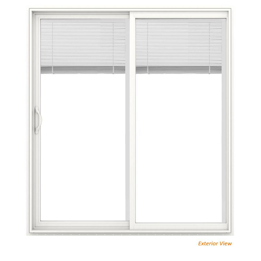 72 in. x 80 in. V-2500 White Vinyl Left-Hand Full Lite Sliding Patio Door w/White Interior & Blinds