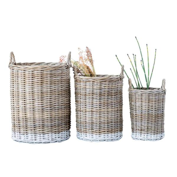 Waterside Round Rattan Decorative Basket with White Dipped Base and Handles (Set of 3)