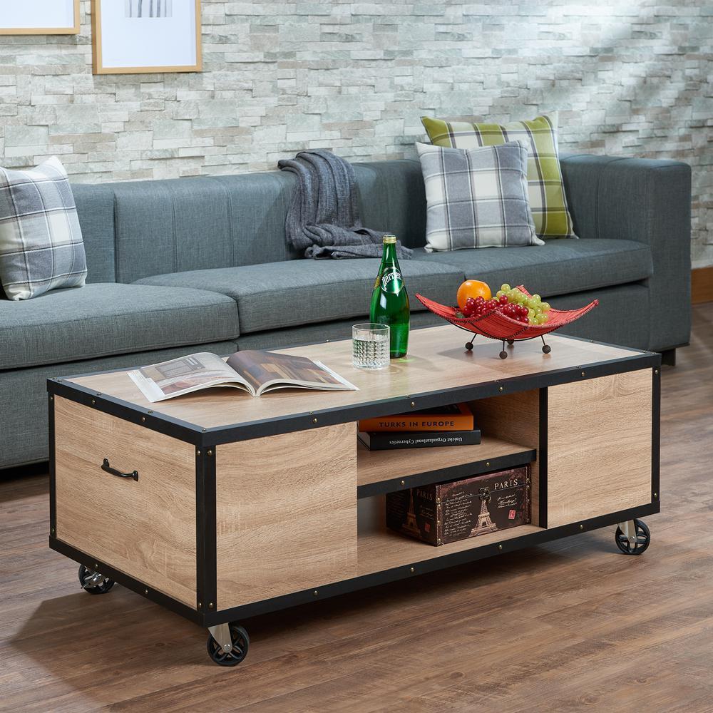 Acme Furniture Bemis Weathered Light Oak Mobile Storage Coffee