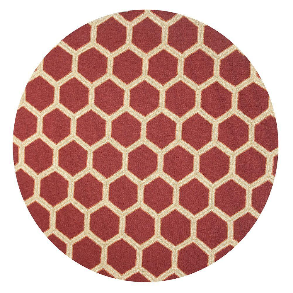 Kas Rugs Party Tiles Red/Cream 7 ft. 6 in. x 7 ft. 6 in. Round Area Rug