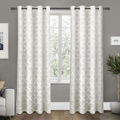 Cartago 54 in. W x 96 in. L Woven Blackout Grommet Top Curtain Panel in Vanilla (2 Panels)