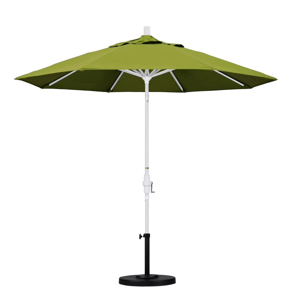 California Umbrella 9 ft. Aluminum Collar Tilt Patio Umbrella in Kiwi Olefin