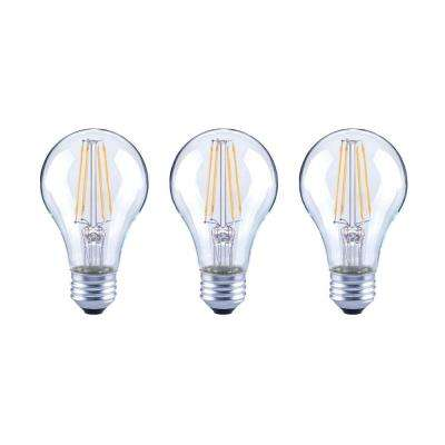 40-Watt Equivalent Soft White A19 Dimmable Clear Glass Filament Vintage Edison Decorative LED Light Bulb (3-Pack)