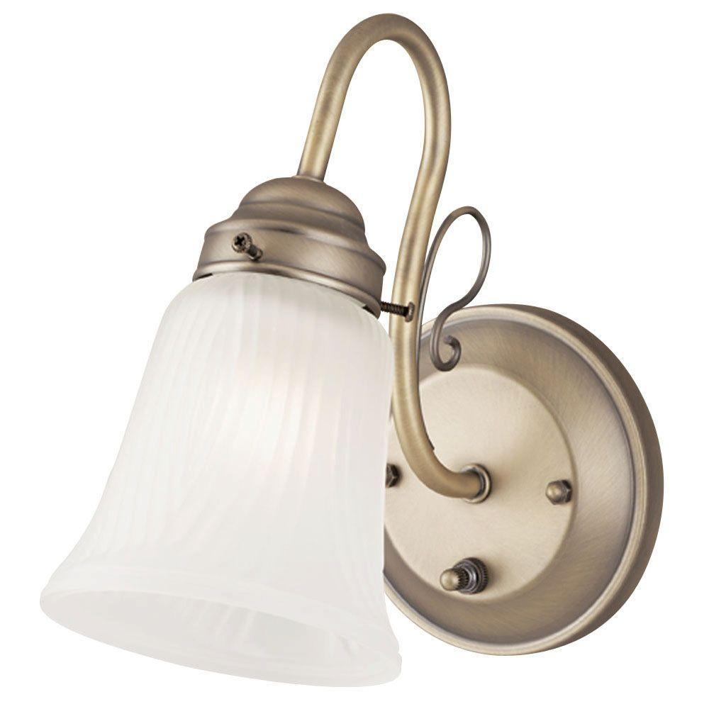 1-Light Oyster Bronze Interior Wall Fixture with On/Off Switch and Frosted