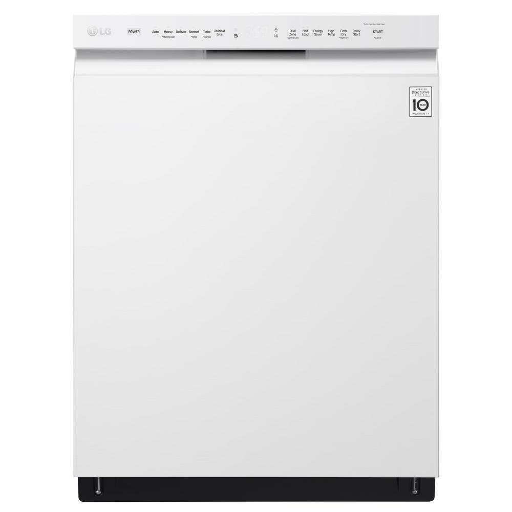 Front Control Built-In Tall Tub Dishwasher in White with Stainless Steel