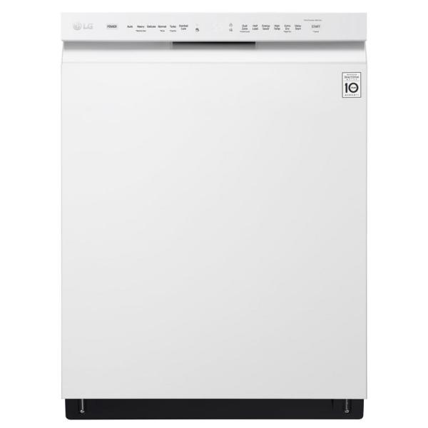 LG Electronics 24 in. Front Control Built-In Tall Tub Dishwasher in White with QuadWash and Stainless Steel Tub, 48 dBA