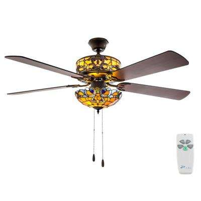 52 in. Indoor Amber Ceiling Fan with Light Kit and Remote Control