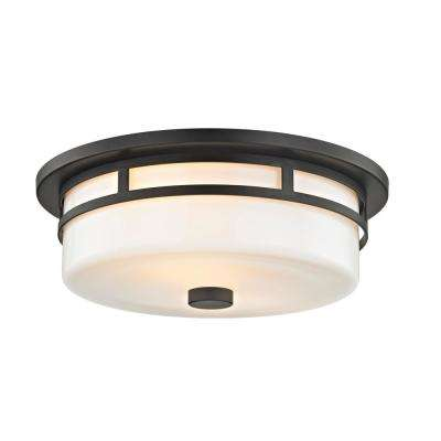 Moderne 18-Watt Aged Bronze Integrated LED Flushmount with Opal White Glass Shade