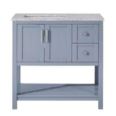 36 in. W x 22 in. D Bath Vanity in Ocean Grey with Granite Vanity Top in Sesame White with White Basin