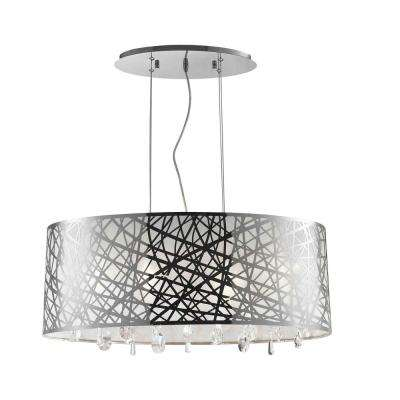 Julie 6-Light Chrome Oval Drum Chandelier with Clear Crystal Shade