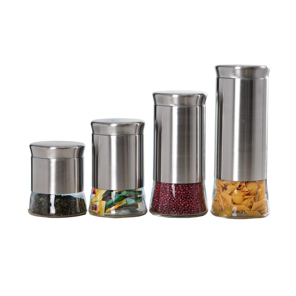 home basics essence stainless steel canister set 4 piece cs44446 the home depot. Black Bedroom Furniture Sets. Home Design Ideas
