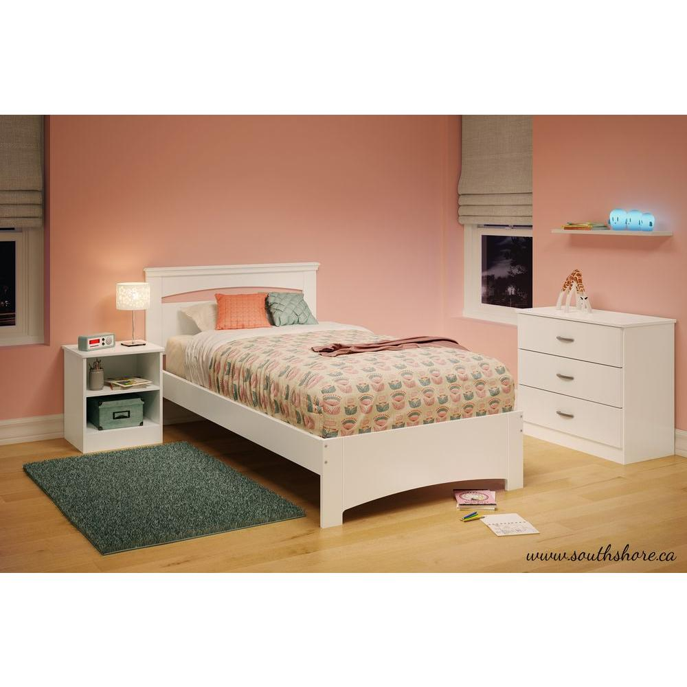 South shore libra pure white twin bed frame 3860189 the for Twin bed frame
