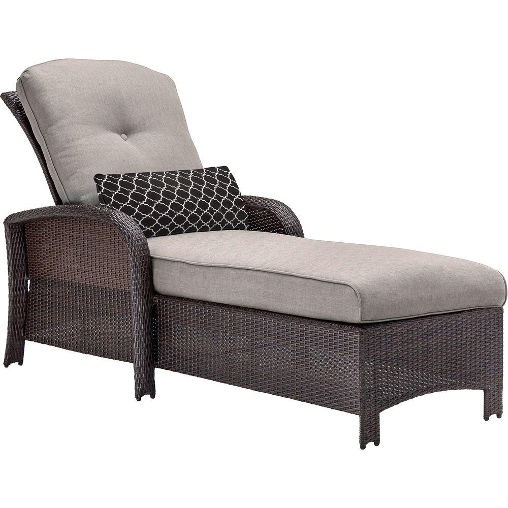Hanover Strathmere All Weather Wicker Patio Chaise Lounge Chair With Silver  Lining Cushion