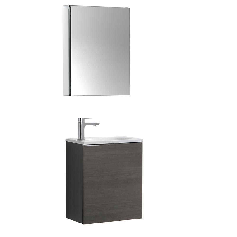 W Wall Hung Vanity In Gray Oak With Acrylic Top