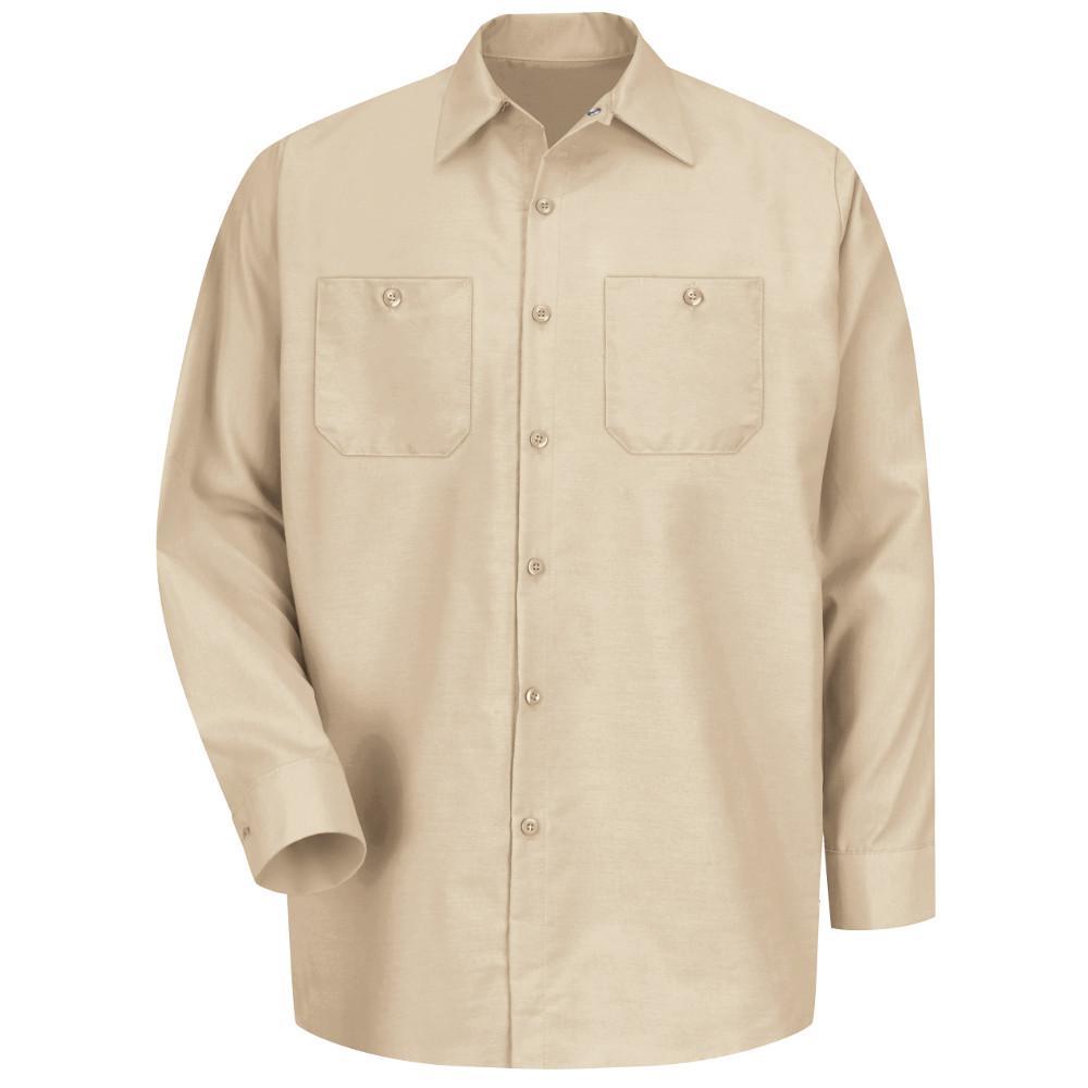 1b2c00d0fdd Dickies Men s 2X-Large Khaki Long Sleeve Work Shirt-574KH - The Home ...