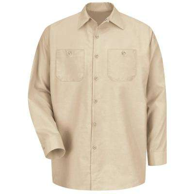 Men's Size L (Tall) Light Tan Long-Sleeve Work Shirt