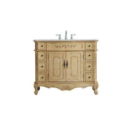 Timeless Home 42 in. W x 21 in. D x 36 in. H Single Bathroom Vanity in Antique Beige with White Marble and White Basin