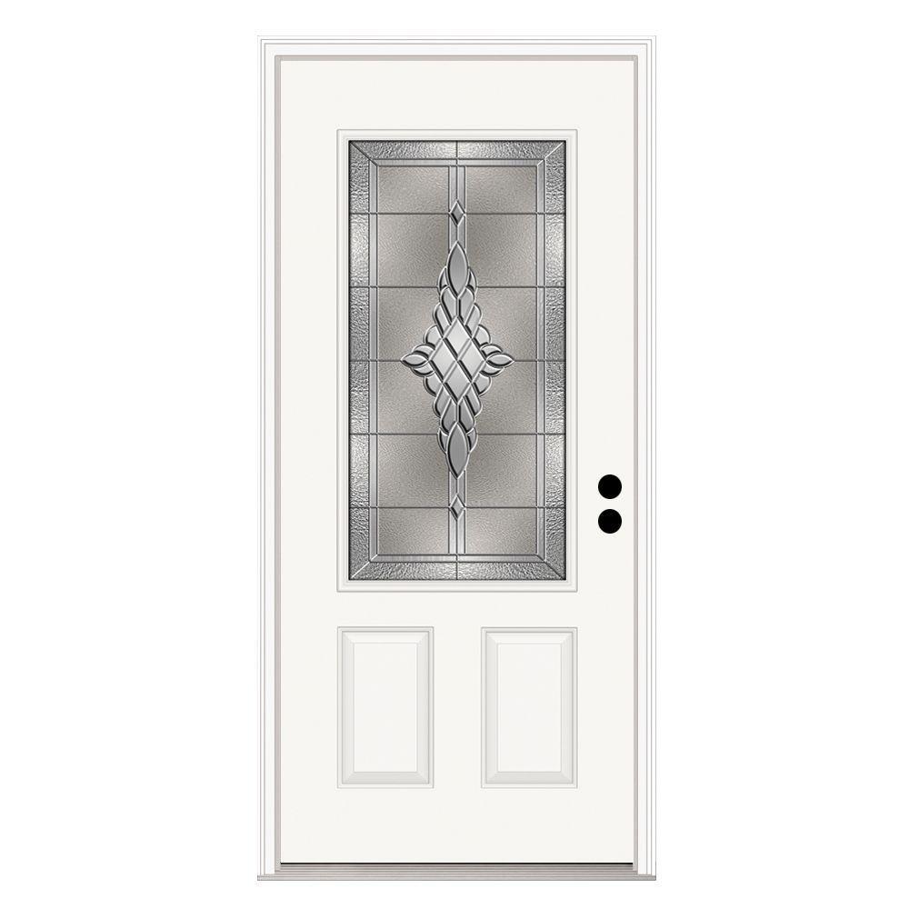 36 in. x 80 in. 3/4 Lite Hadley Primed Steel Prehung Left-Hand Inswing Front Door w/Brickmould