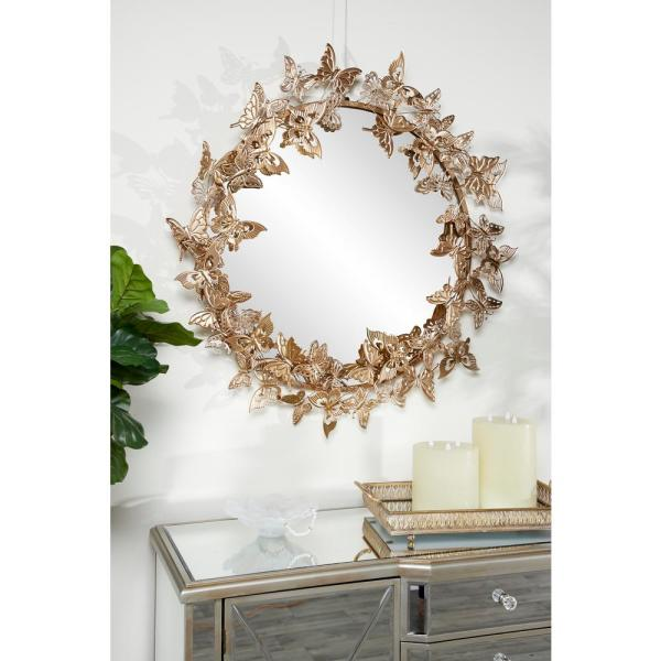 Litton Lane Round Metallic Gold Butterfly Hanging Wall Mirror 46261 The Home Depot