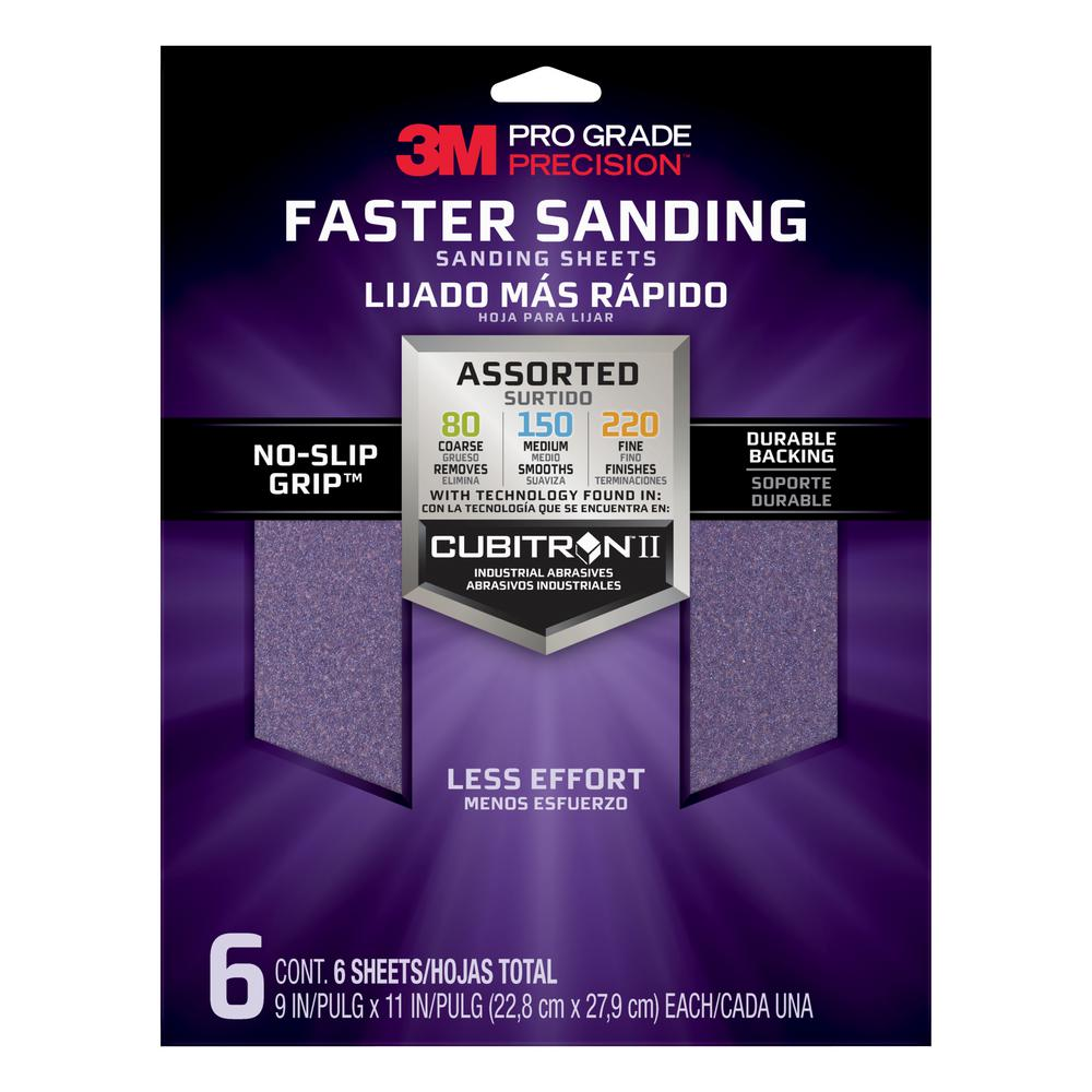 3M Pro Grade Precision 9 in. x 11 in. 80, 150, 220 Assorted Grits Advanced Sanding Sheets (6-Pack)