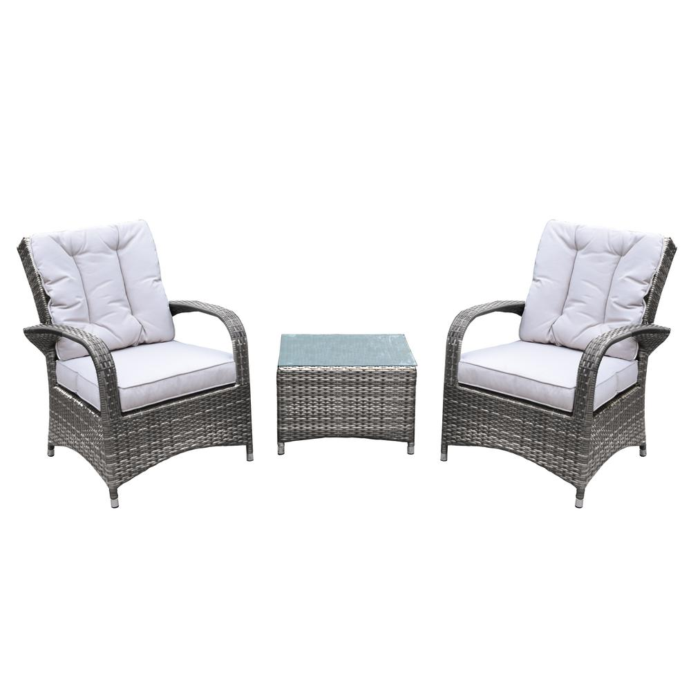 Borneo Beige 3-Piece Wicker Patio Conversation Set with Oatmeal Cushions