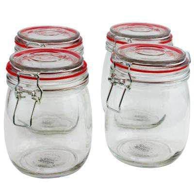 Cottage Chic 4-Piece Glass Preserving Jar with Wire Bail and Trigger Closure