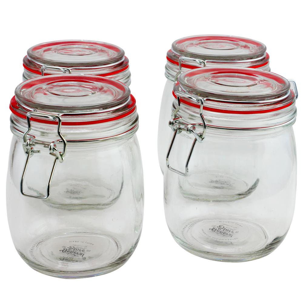 Cottage Chic 4-Piece Glass Preserving Jar with Wire Bail and Trigger